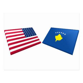 US & Kosovo Flags Postcard