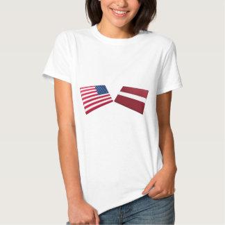 US & Latvia Flags T Shirt