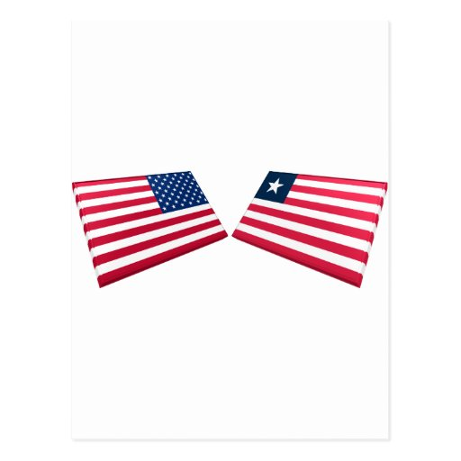 US & Liberia Flags Post Cards