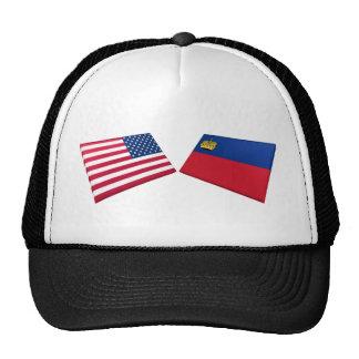 US & Liechtenstein Flags Hats