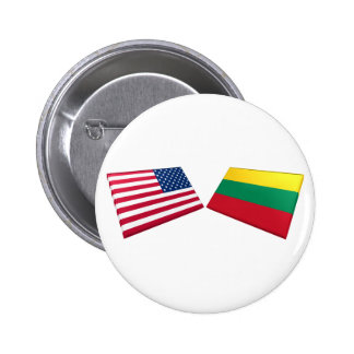 US & Lithuania Flags Pinback Button