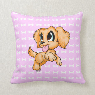 US Made Adorable Hand Drawn Dog Pink Throw Pillow