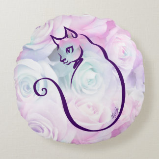 US Made Hand Drawn Cat Floral Round Pillow
