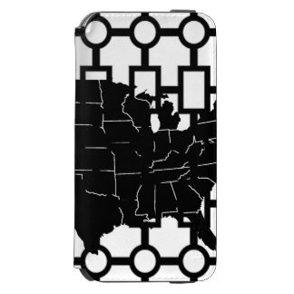 US Map Abstract Black & White iPhone Wallet Incipio Watson™ iPhone 6 Wallet Case