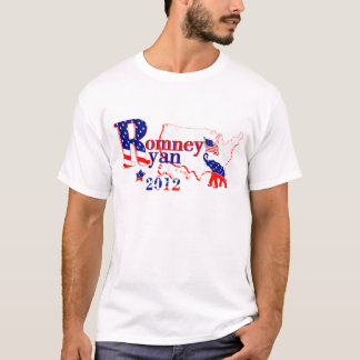 US Map American Flag Romney and Ryan 2012 T-Shirt