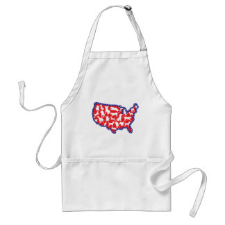 US Map and Dogs Adult Apron