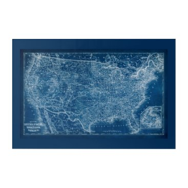 USA Themed US Map Blueprint Acrylic Wall Art