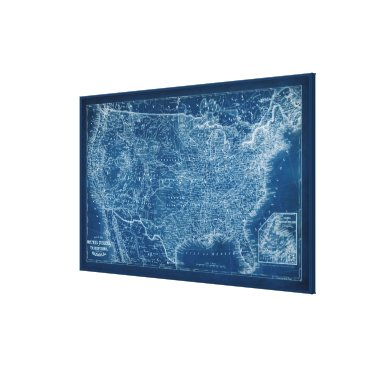 USA Themed US Map Blueprint Canvas Print