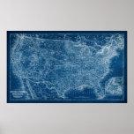 US Map Blueprint Poster