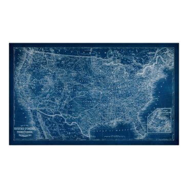 USA Themed US Map Blueprint Poster