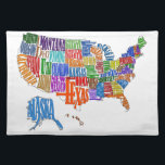 """US MAP CLOTH PLACEMAT<br><div class=""""desc"""">This is a map of the United States. The name of each state is spelled out in such a way as to form that state&#39;s shape. Interesting twist to the common map. Great for kids and geography class.</div>"""