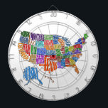 "US MAP DARTBOARD<br><div class=""desc"">This is a map of the United States. The name of each state is spelled out in such a way as to form that state&#39;s shape. Interesting twist to the common map. Great for kids and geography class.</div>"
