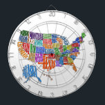 """US MAP DARTBOARD<br><div class=""""desc"""">This is a map of the United States. The name of each state is spelled out in such a way as to form that state&#39;s shape. Interesting twist to the common map. Great for kids and geography class.</div>"""