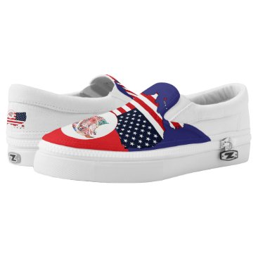 USA Themed US Map & Eagle Slip-On Sneakers