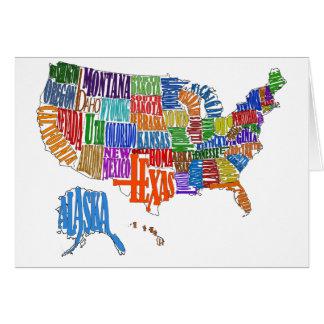 US MAP GREETING CARD