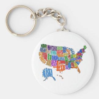 US Map Keychain