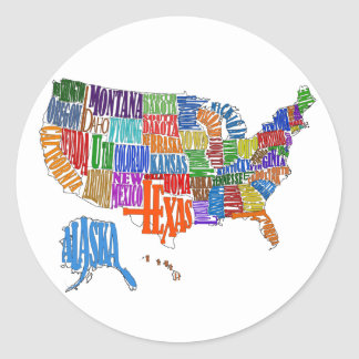 US Map Classic Round Sticker