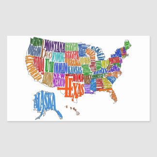 US MAP RECTANGLE STICKER