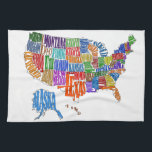 "US MAP TOWEL<br><div class=""desc"">This is a map of the United States. The name of each state is spelled out in such a way as to form that state&#39;s shape. Interesting twist to the common map. Great for kids and geography class.</div>"