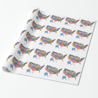 US MAP WRAPPING PAPER