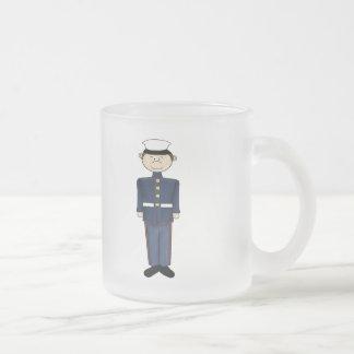 US Marine Corp Boy Frosted Glass Coffee Mug