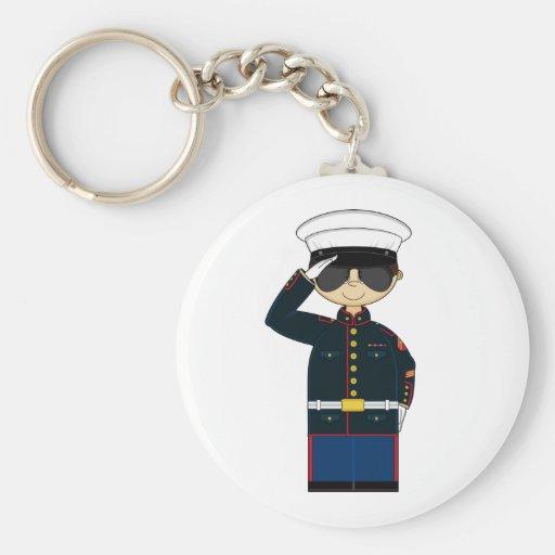 US Marine Corp NCO Saluting Keychain