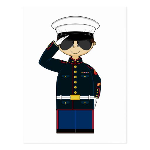US Marine Corp NCO Saluting Postcard