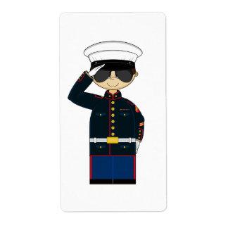 US Marine Corp NCO Saluting Sticker Shipping Label
