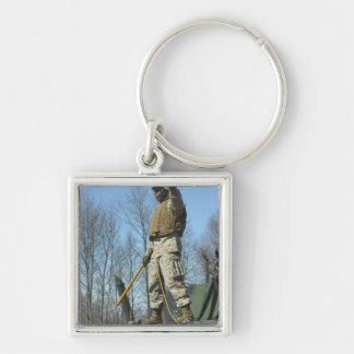 US Marine Corps Sergeant gives the thumbs up Silver-Colored Square Keychain