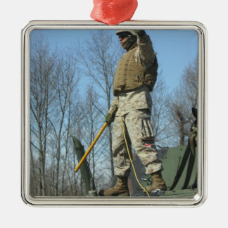 US Marine Corps Sergeant gives the thumbs up Metal Ornament