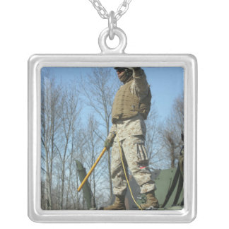 US Marine Corps Sergeant gives the thumbs up Square Pendant Necklace