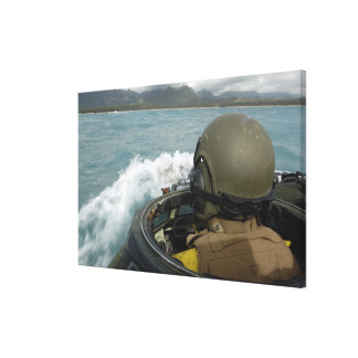 US Marine driving an amphibious assault vehicle Canvas Print