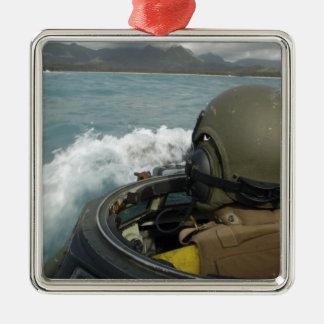 US Marine driving an amphibious assault vehicle Metal Ornament