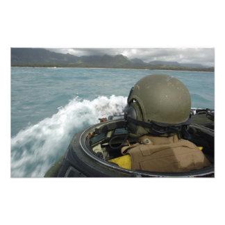 US Marine driving an amphibious assault vehicle Photo Print