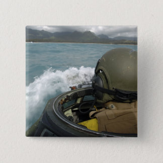 US Marine driving an amphibious assault vehicle Pinback Button
