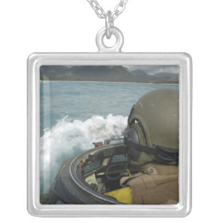 US Marine driving an amphibious assault vehicle Silver Plated Necklace