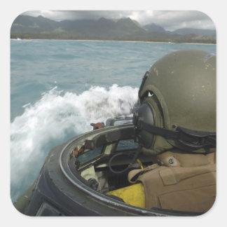 US Marine driving an amphibious assault vehicle Square Sticker