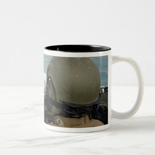 US Marine driving an amphibious assault vehicle Two-Tone Coffee Mug