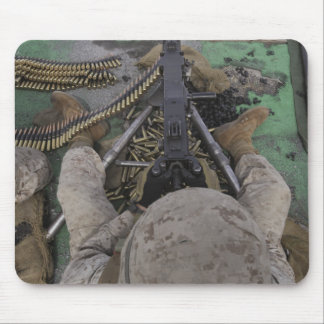 US Marine fires an M2 50-caliber machine gun Mouse Pad