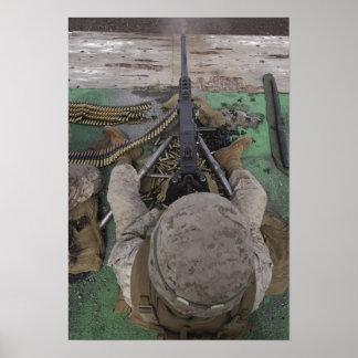 US Marine fires an M2 50-caliber machine gun Poster