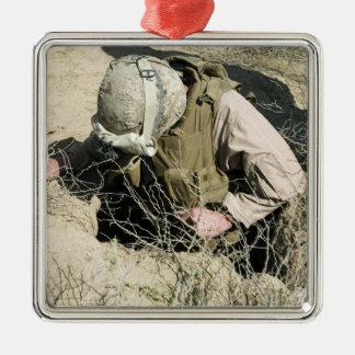 US Marine jumps down a hole Metal Ornament