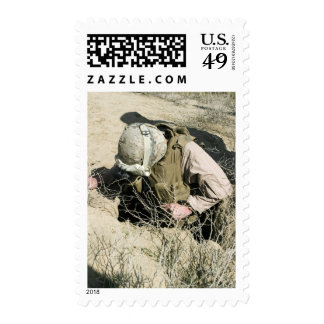 US Marine jumps down a hole Postage Stamps