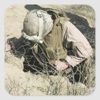 US Marine jumps down a hole Square Sticker