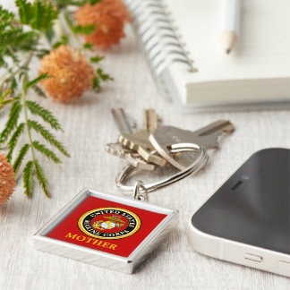 US Marine Official Seal - Mother Silver-Colored Square Keychain