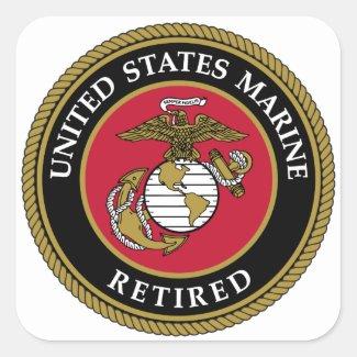 US Marine Retired Black Square Sticker