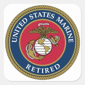 US Marine Retired Blue Square Sticker