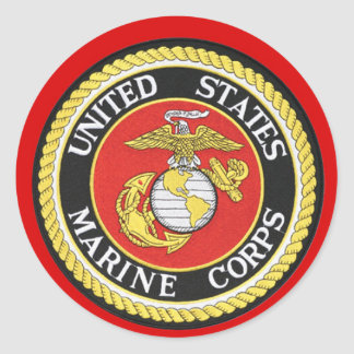 US Marine Seal Round Stickers