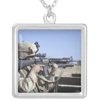 US Marine sites through the scope Silver Plated Necklace