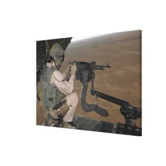 US Marine test firing an M240 heavy machine gun Stretched Canvas Prints