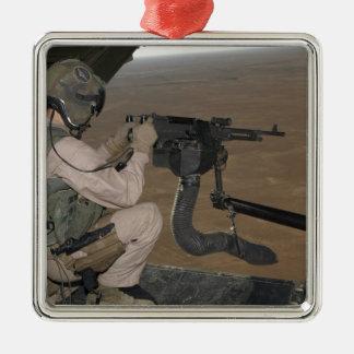 US Marine test firing an M240 heavy machine gun Metal Ornament